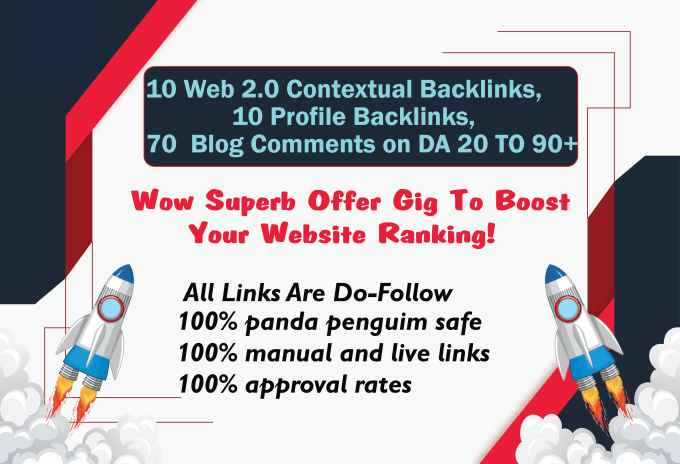 I will do 10 web2.0 and 10 profile backlinks and 70 dofollow blog comments on DA 20 to 90+