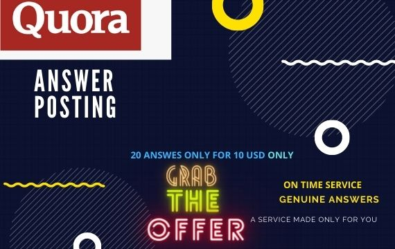 Get 20 High Quality Quora answers with permanent backlinks
