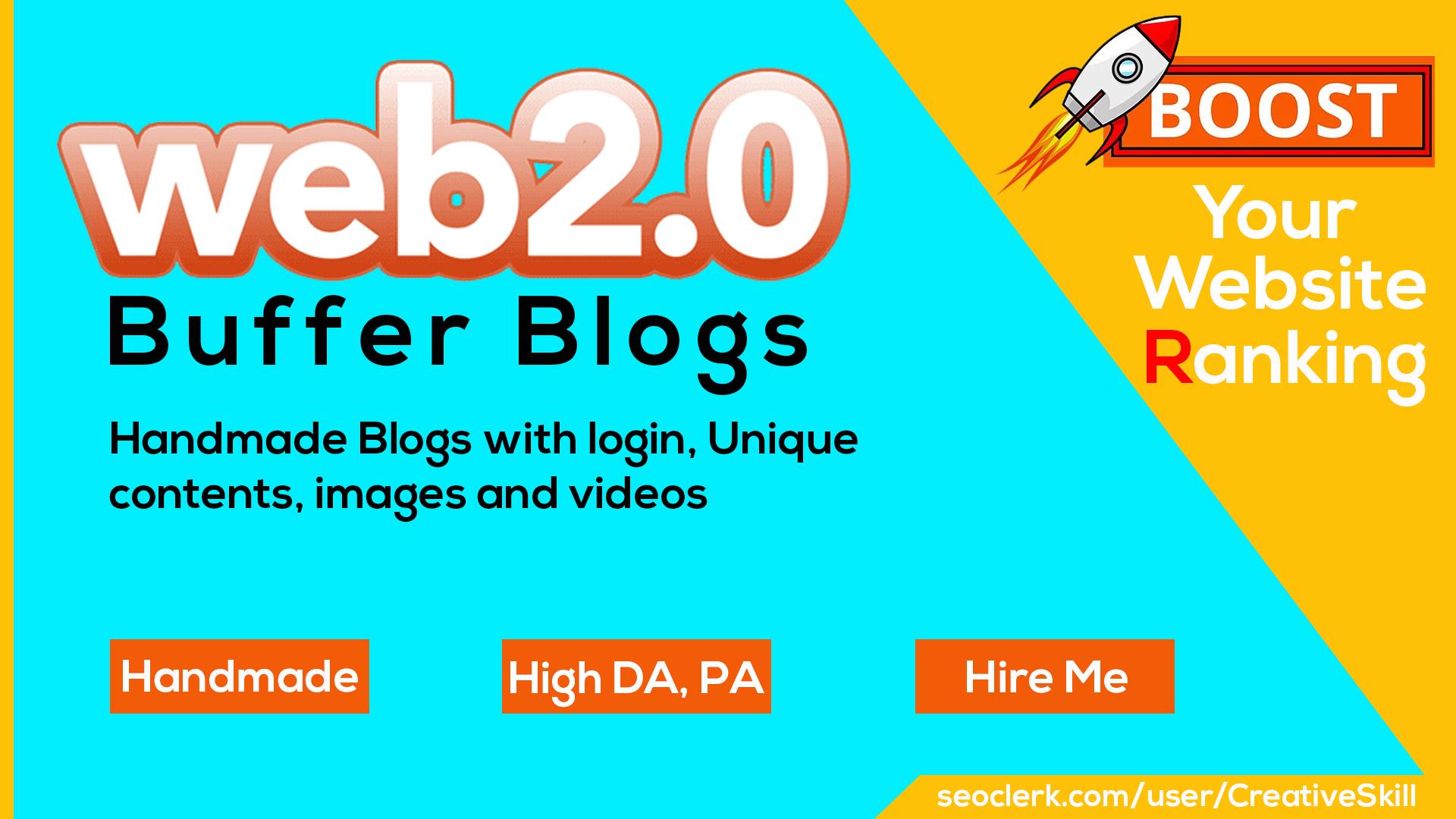 Manually Create 10 Web 2.0 Buffer Blogs With Login Get Bonus 10 Posts