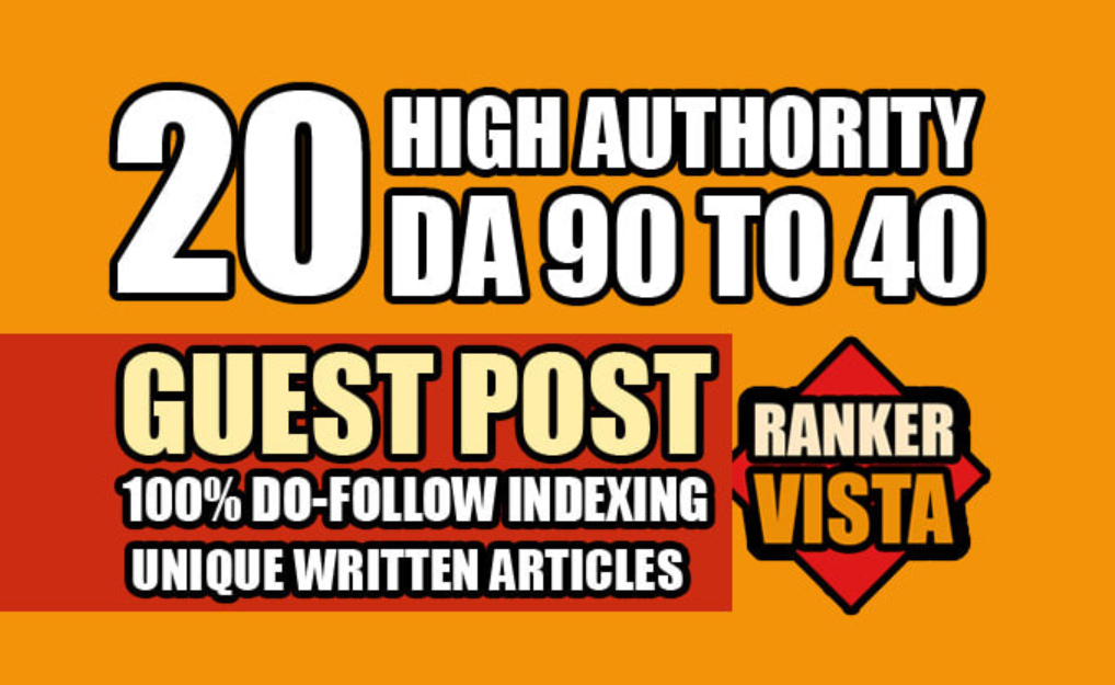 I will do 20 guest post on da 60 to 90 with do follow articles
