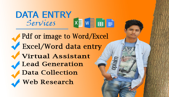 I will do data entry,  internet research,  web research,  lead generation works