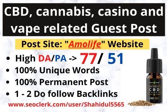 Publish CBD guest post on the high DA website