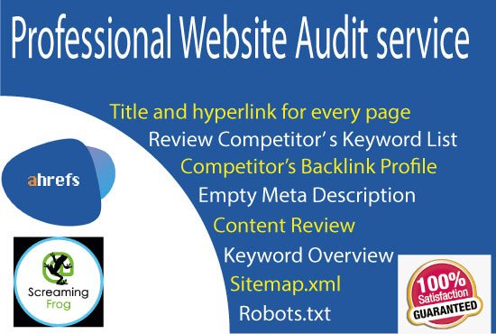 Professional website SEO audit with screaming frog and ahrefs