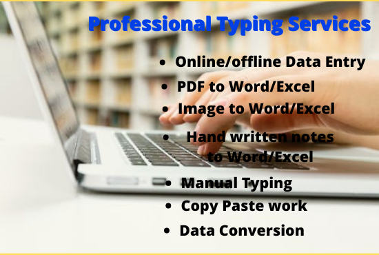 Fastest Data Entry, Copy Paste, Excel Data Entry and Typing work in24 hrs