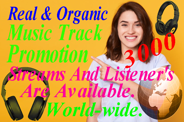 I will be able to Do Organic Music Promotion For 3,000 listeners and Streams.