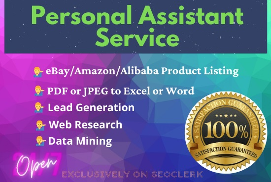 I will be your personal assistant for Product listing,  Data mining,  Data entry and Microsoft Office