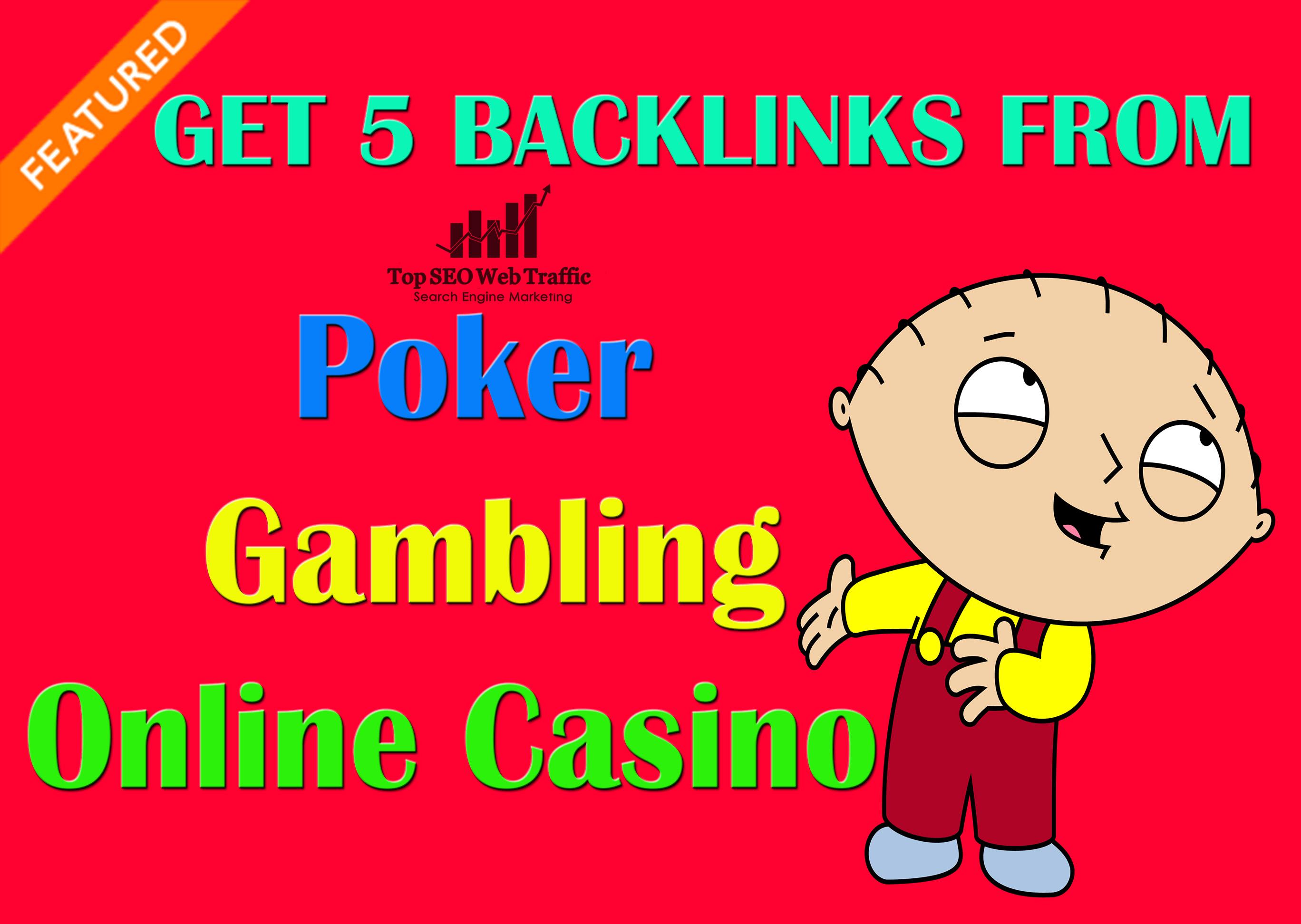 I will do 200 Quality Backlinks from Poker,  Gambling,  Online Casino PBN Sites