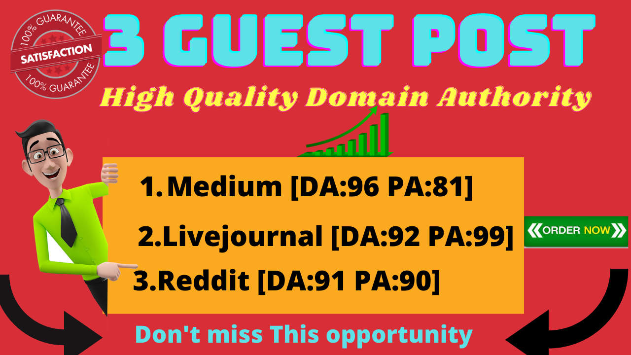 I will give 3 in 1 guest post backlinks