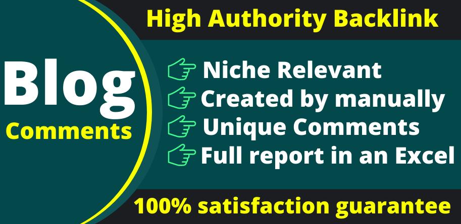 I will do 60 high DA Niche Relevant Blog Comments Backlinks