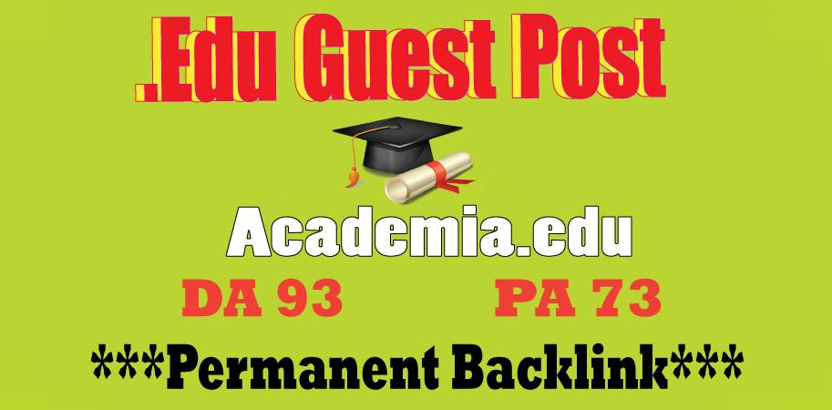 Academia. edu Guest Post Dof0llow Backlink DA93 DR91