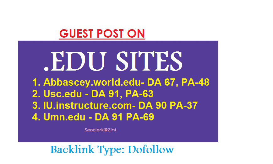Able to publish content on 4. EDU sites which have DA-60+
