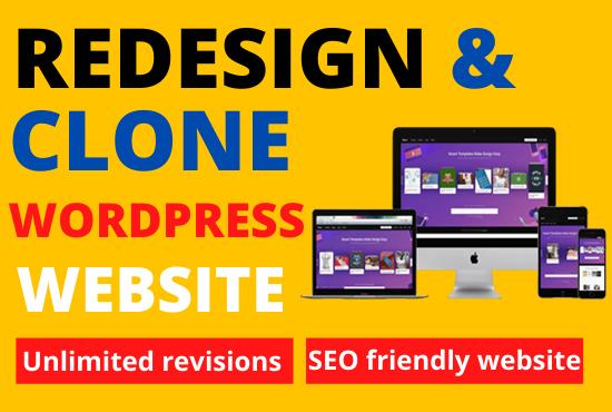 Redesign copy clone wordpress website and design wordpress website