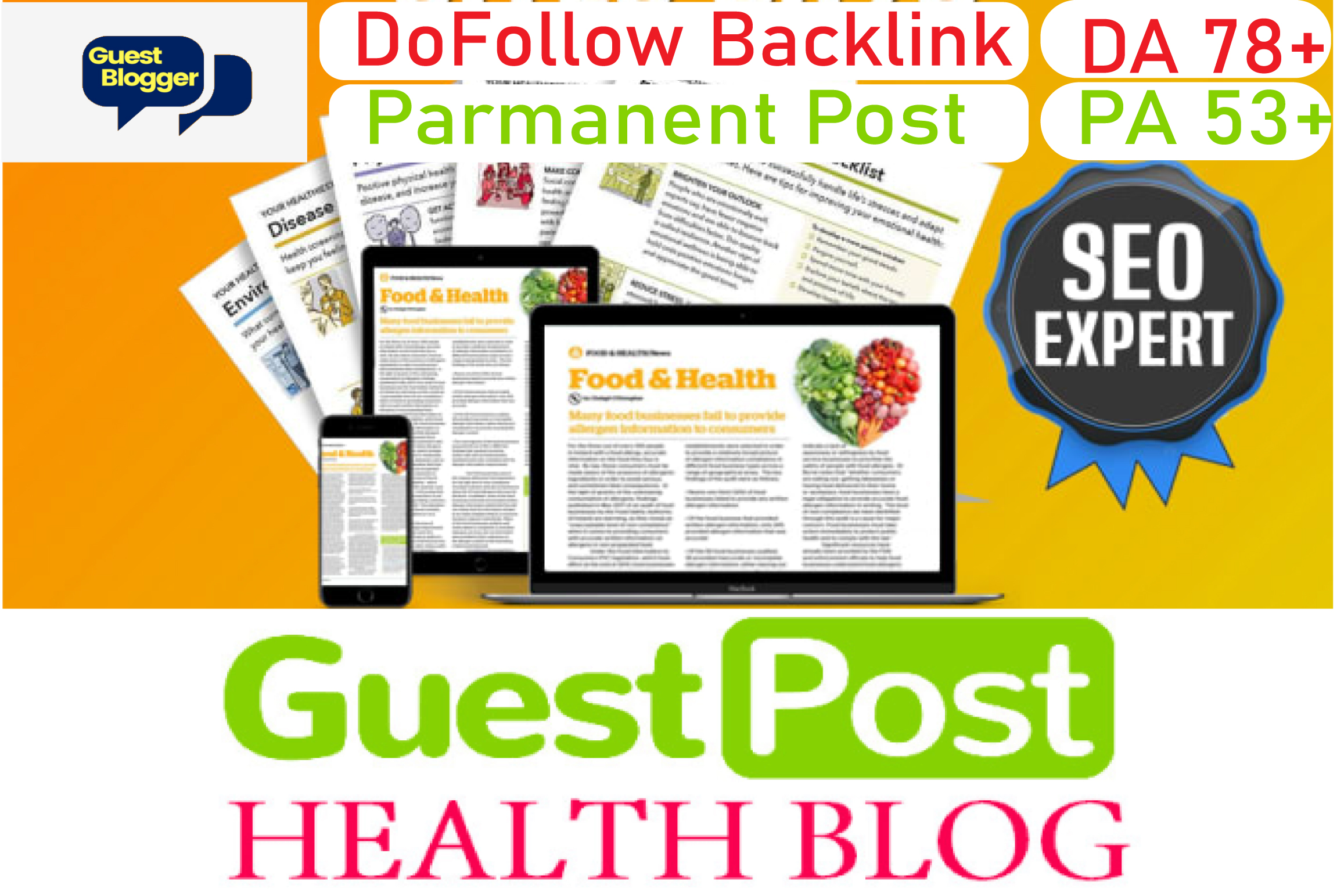 i will publish health guest posting on DA 78 blog with Domain Authority links