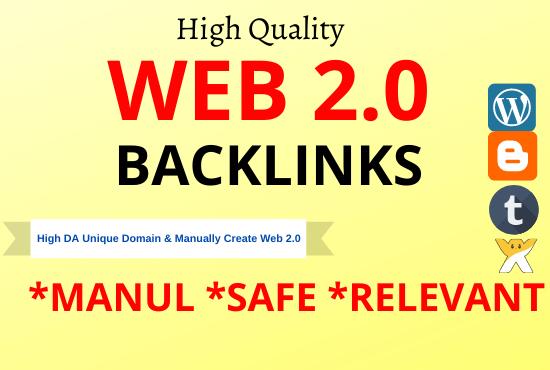 I will create 30 High DA web2.0 high Quality permanent Backlinks