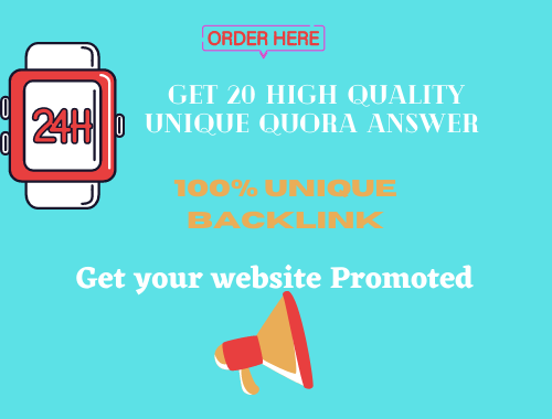 Promote Your Site by 20 HQ Quora answer get targeted visitors