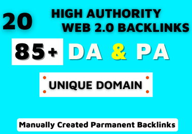 I will do 20 High Authority Web 2.0 Backlinks Manually For Google Ranking