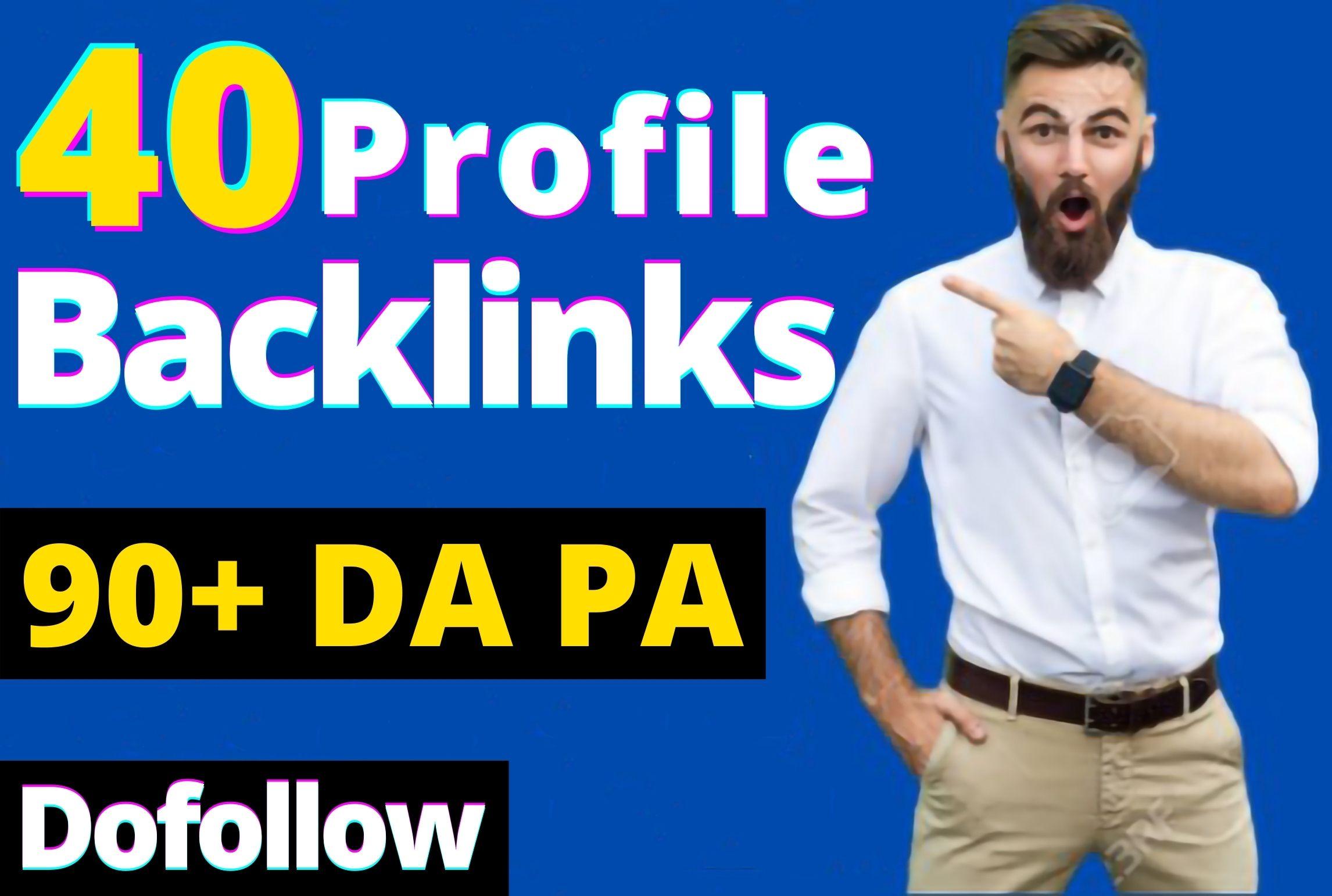 Dofollow 90+DA PA & PR9 40 Profile Backlinks