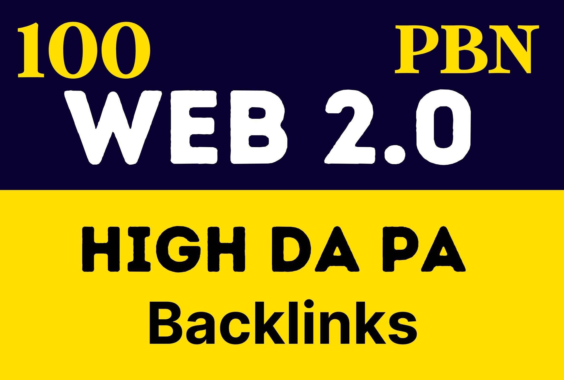 Premium 100 Unique PBN Web 2.0 Backlinks