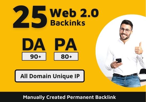 I will create manually 25 permanent Web 2.0 backlinks