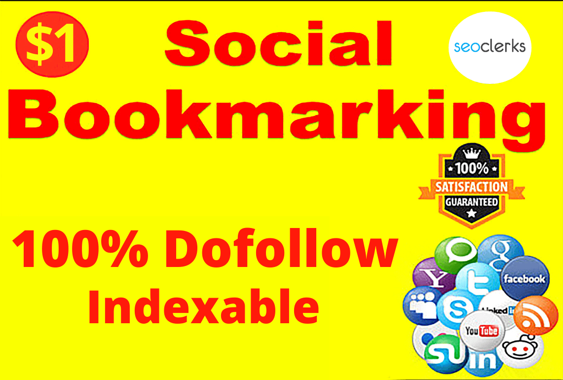 100 dofollow Social bookmarks Backlinks Manually build Indexable to boost your site