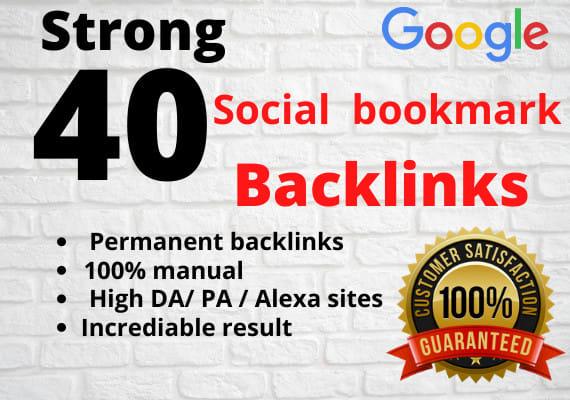 I will create 40 social bookmark backlinks manually
