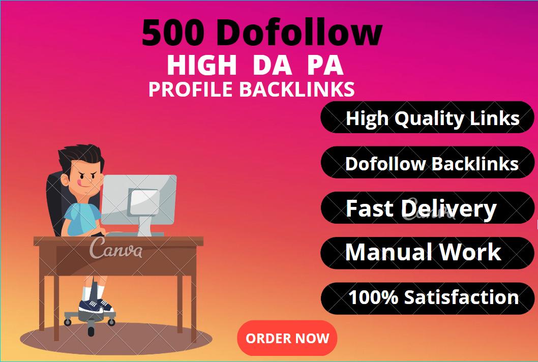 I will create 500 dofollow High DA PA profile backlink