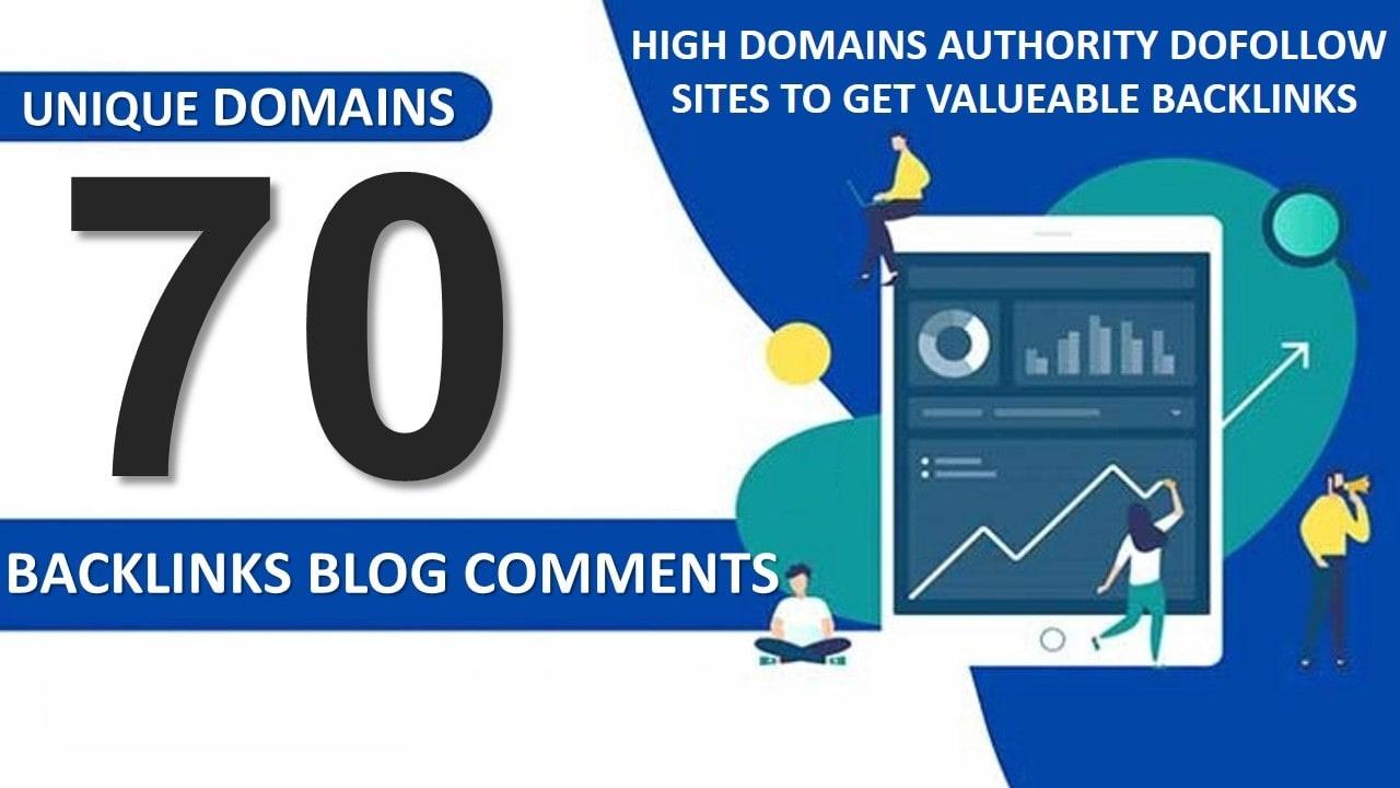 Create 70 Unique domain blog comment backlinks