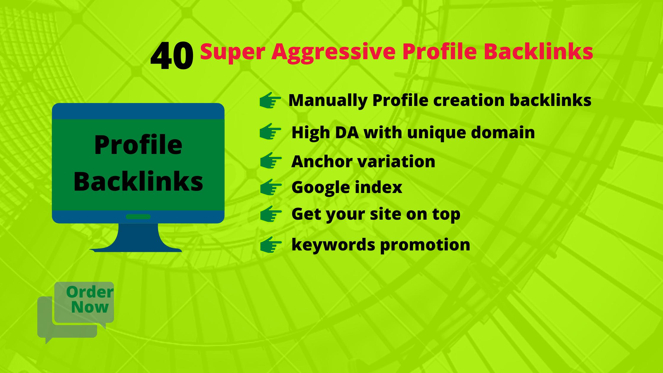 I will do 40 high quality profile backlinks with DA& PA