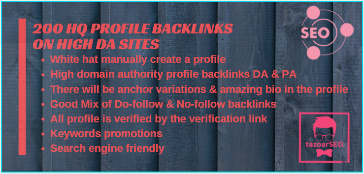 I'll provide 200 high-quality DA 80+ social media SEO profile creation backlinks