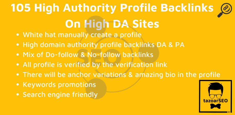 I Will Manually Build 105 HQ DA 80+ Social Media SEO Profile Backlinks