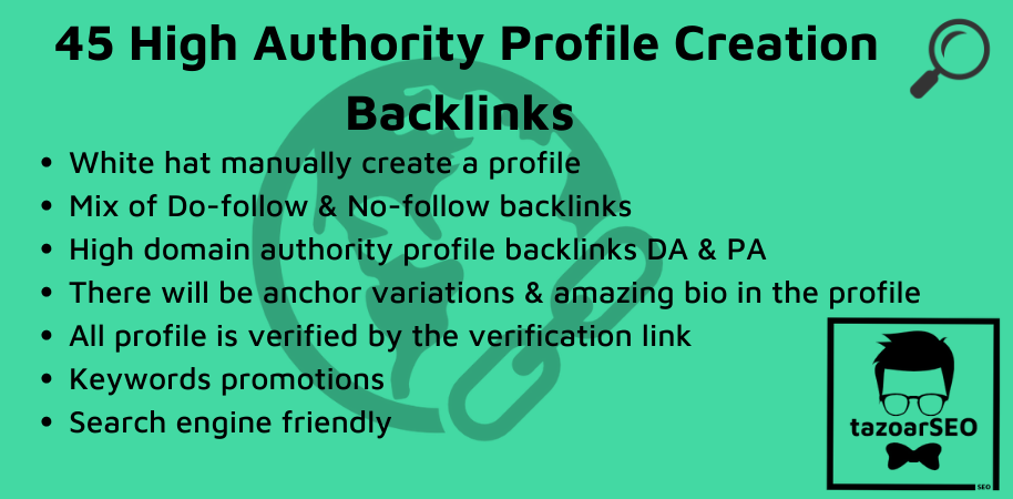 I'll create manually 45 High DA 80 Profile Backlinks