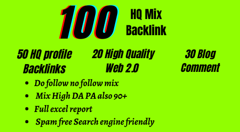 100 High Authority Mix link Whell backlinks helps to rank your site with updated terms