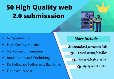 50 High quality Web 2.0 Backlinks submission
