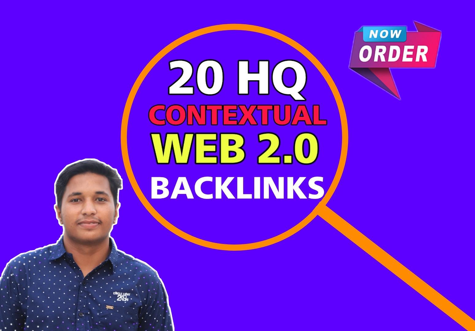 I will provide 20 DO-FOLLOW High authority Web 2.0 backlinks manually