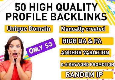 I will do Manually 50 DA80+do-follow High authority profile backlinks for website SEO