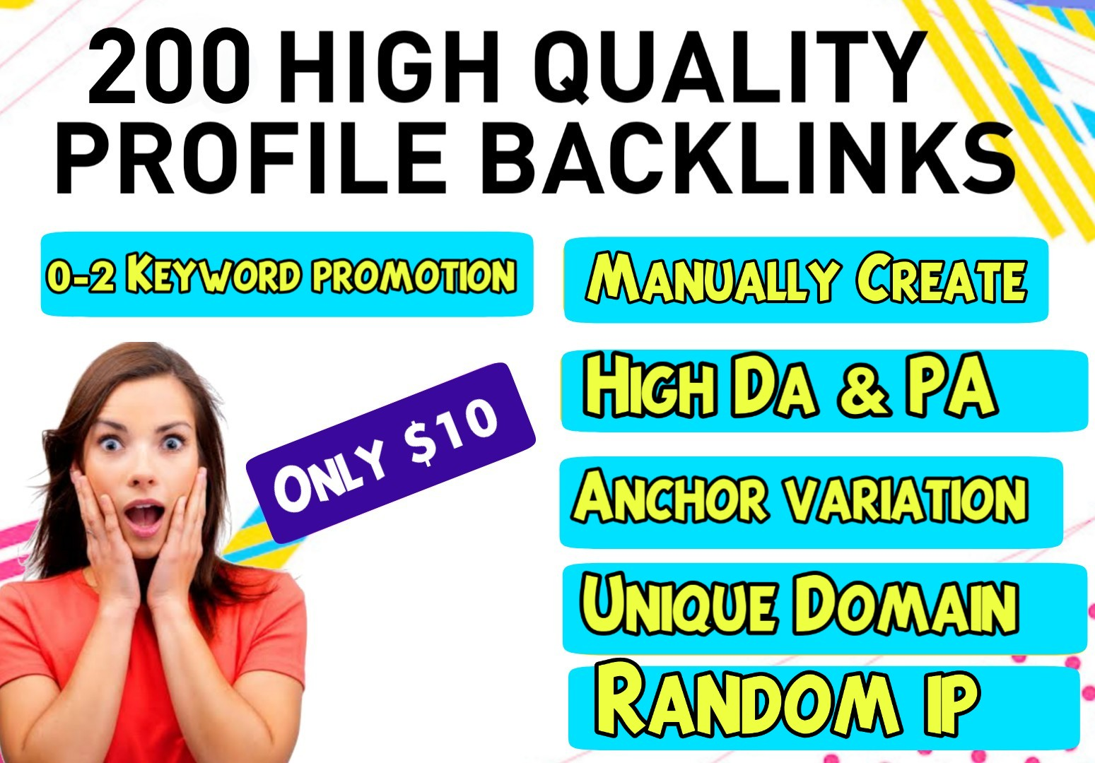 Manually 200 Do-follow Profile backlinks with High DA & PA for website SEO