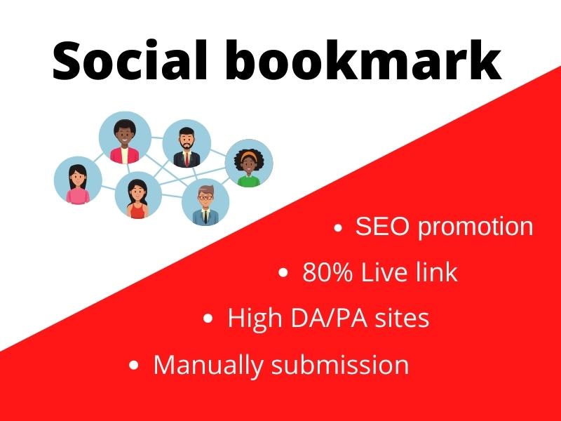 I will create manually 100 social bookmark on high PA DA sites