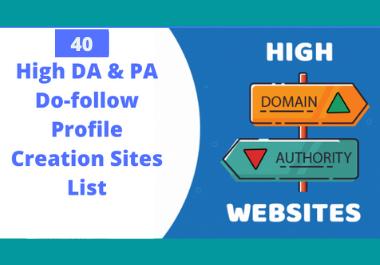 I Will Do Manually 40 Do-follow High Authority Profile Backlinks/Social Profiles DA 80 plus