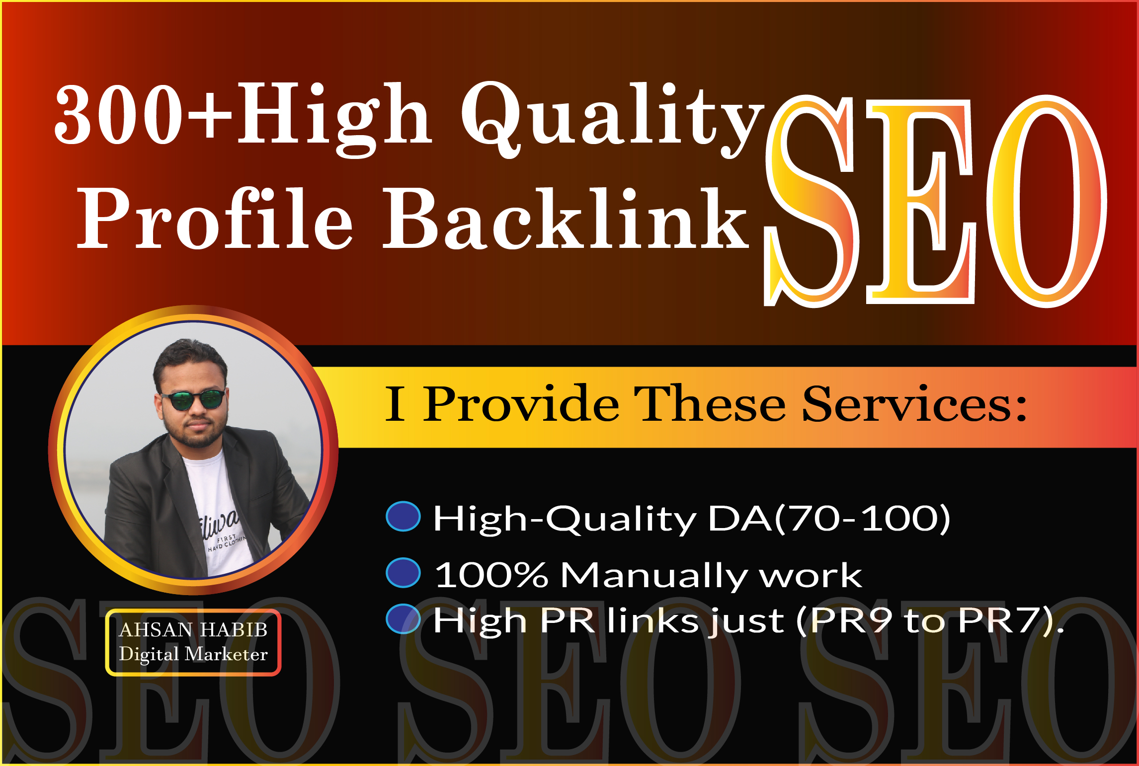 I will create 100+ HQ Profile Backlink SEO manually