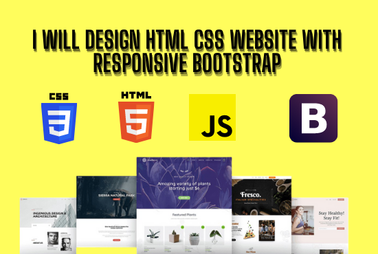 I will design html css website with responsive bootstrap