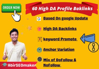 I will Create 60 High DA Profile Backlinks, with anchor variant keyword Promotion