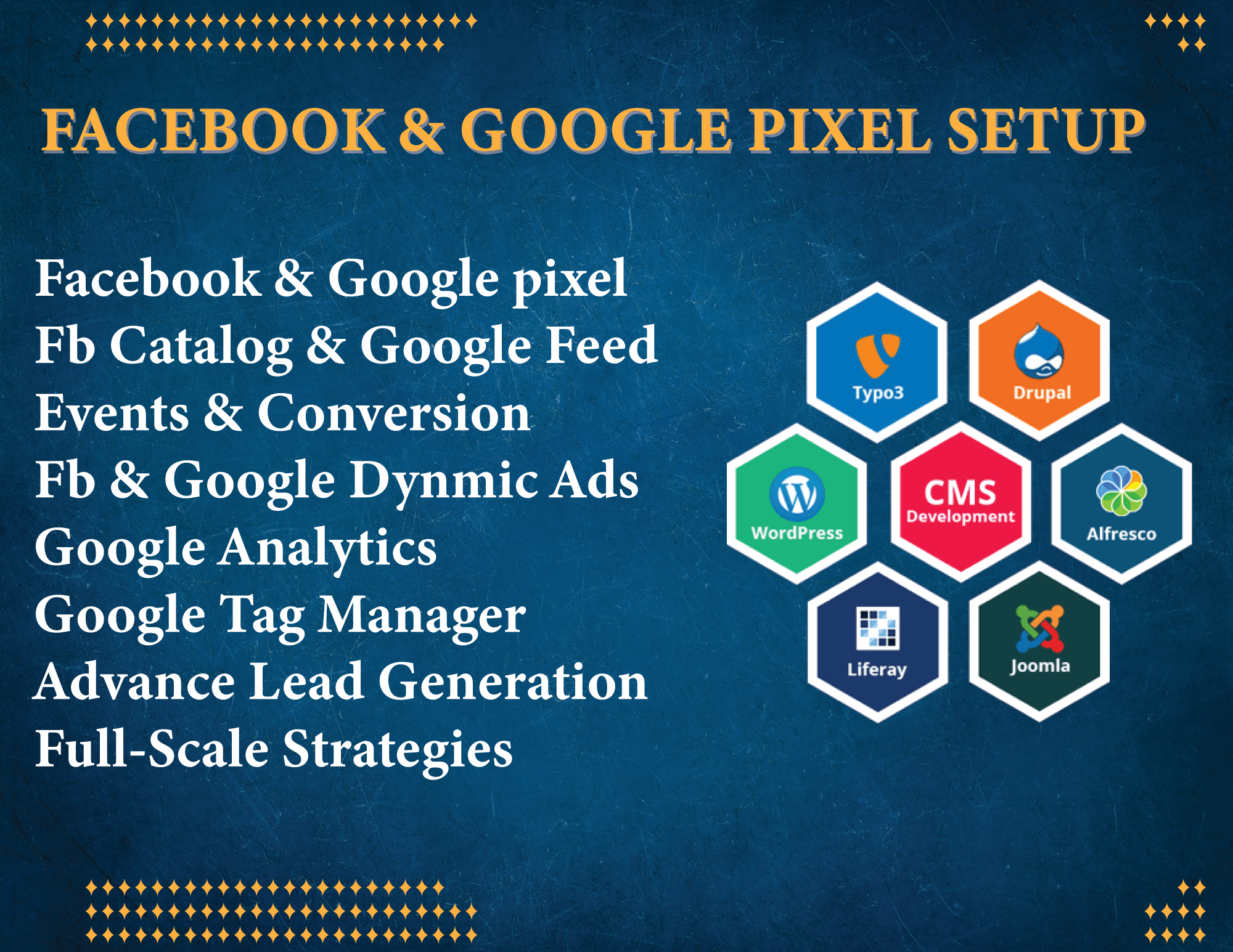 I will setup fix google analytics,  tag manager,  search console Facebook pixel