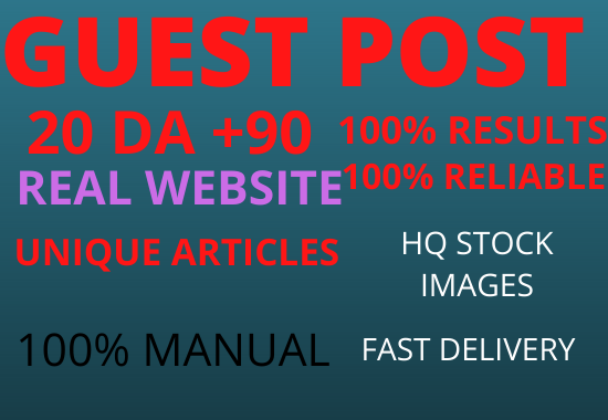 Write And Publish 10 Guest Post On 10 Different Websites Da 90+ unique article
