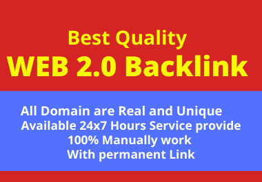 30 Web 2.0 High Quality Backlink Create in High Da SIte Permanently with help Rank your site
