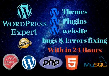 I will WordPress website design,  fix plugins,  widgets,  and support customs works