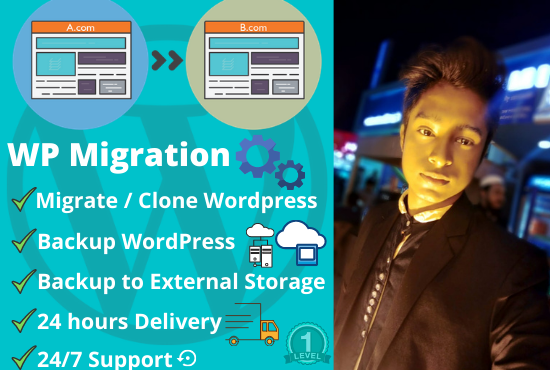 I will clone,  migrate,  transfer,  move or backup wordpress Sites