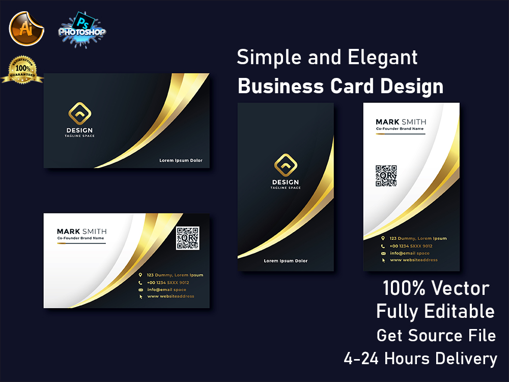 I will simple elegant and clean business card design