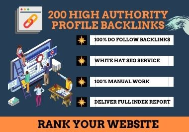 I will manually do 200 high domain authority profile backlinks for website SEO