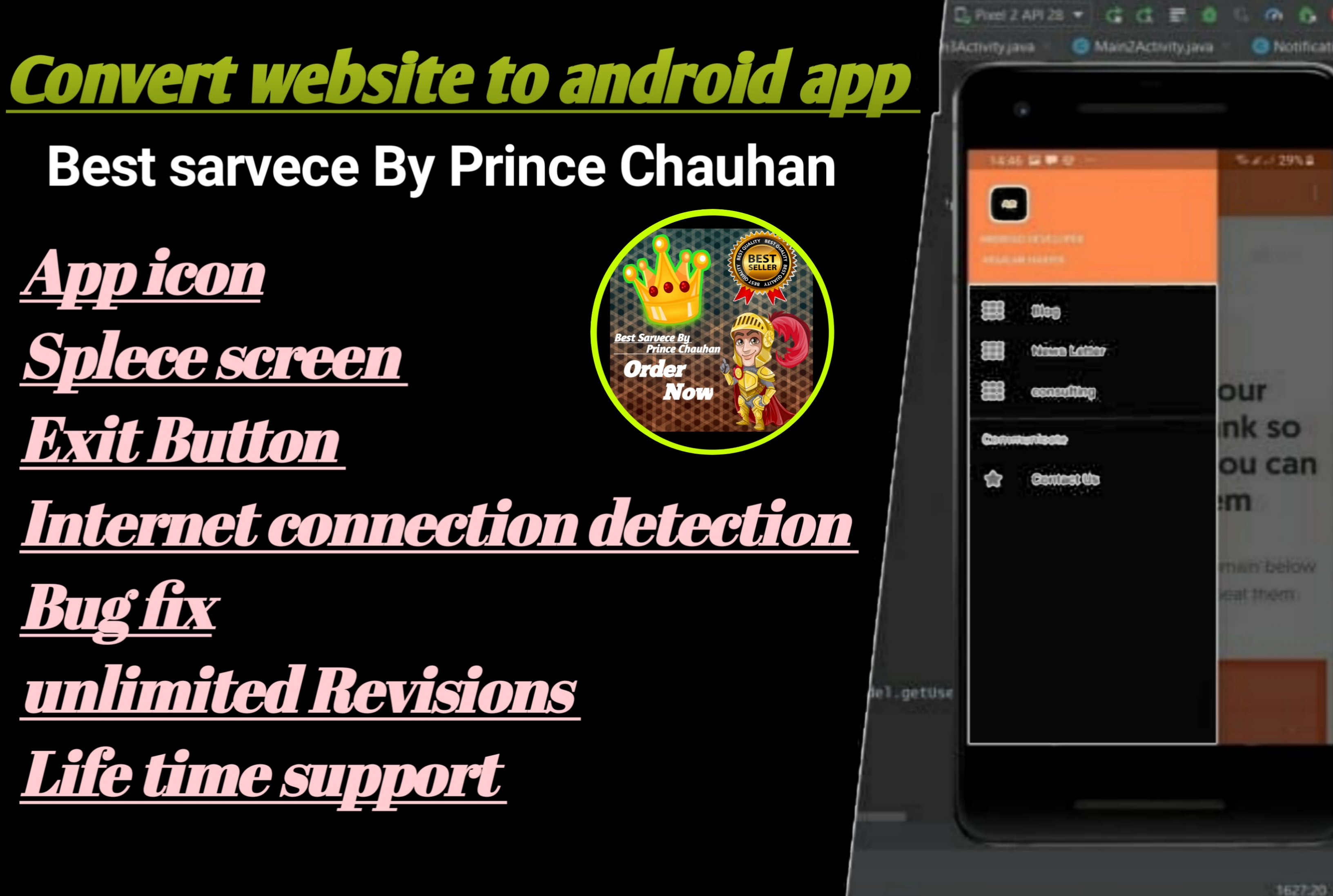 I will convert website to android app using webview