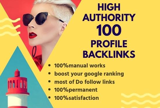I Will do 100 high authority profile backlinks SEO